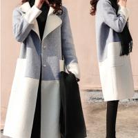 2019秋冬季新款女装韩版中长款呢子大衣赫本风小个子加厚拼接毛呢大衣女