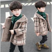男童外套呢子加绒加厚儿童冬季外套格子呢子 驼色