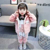 新品儿童秋冬季加厚加绒保暖小女孩衣服0-4岁中小童卫衣马甲裤子三件套 金丝绒粉色