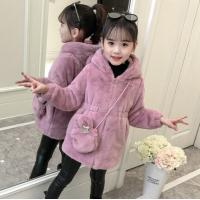 2019新款儿童冬装女孩中长款连帽风衣加厚上衣 紫粉色