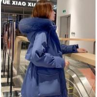 羽绒服女中长款2019新品冬季新款时尚大码女装显瘦保暖加厚真毛领羽绒工装服外套
