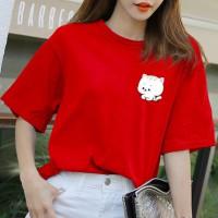 猫咪图案可爱宽松大码短袖T恤女闺蜜装学生纯棉半袖体恤上衣夏装