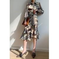 2020夏装新款女装韩版印花宽松中长款长袖连衣裙女显瘦修身打底裙