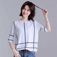 短袖冰丝针织衫女夏装韩版宽松打底衫时尚上衣夏季新款